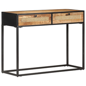 Console Table 100x35x75 cm Rough Mango Wood and Natural Cane - sku 323145