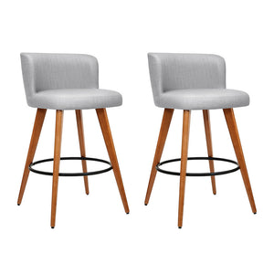 Artiss 2x Wooden Bar Stools Modern Bar Stool Kitchen Fabric Light Grey