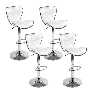 Artiss set of 4 Bar Stools RUBY Kitchen Swivel Bar Stool PU Leather Chairs Gas Lift White