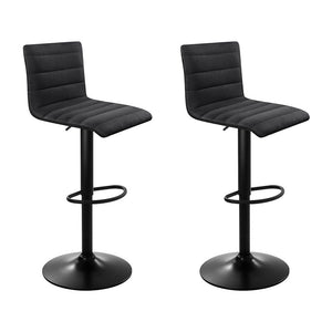 Artiss Set of 2 Fabric Bar Stools - Black