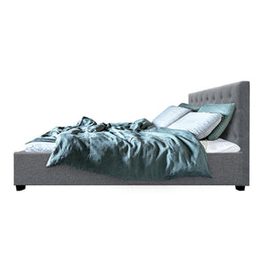 Artiss Queen Size Gas Lift Bed Frame Base With Storage Mattress Grey Fabric VILA
