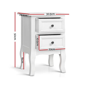 Artiss Bedside Tables Drawers Side Table French Storage Cabinet Nightstand Lamp