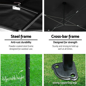 Instahut Gazebo Pop Up Marquee 3x6m Folding Wedding Tent Gazebos Shade Black
