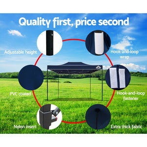 Instahut Gazebo Pop Up Marquee 3x4.5m Outdoor Tent Folding Wedding Gazebos Navy