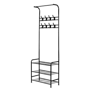 Artiss Clothes Rack Coat Stand Garment Portable Hanger Airer Organiser Shoe Storage Metal Black