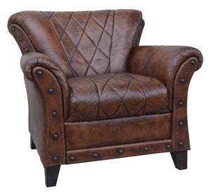Studded Leather Arm Chair