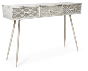 Filigree Metal Console - Antique White