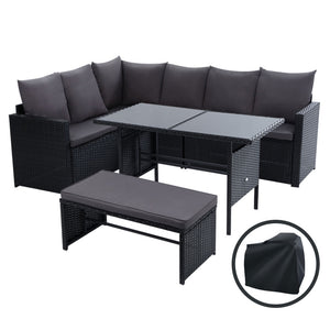Gardeon Outdoor Furniture Dining Setting Sofa Set Wicker 8 Seater Storage Cover Black