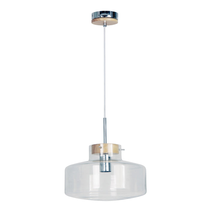 HOLBECK.30 - Scandi Clear Glass and Timber Pendant