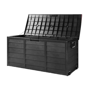 Giantz 290L Outdoor Storage Box Lockable Weatherproof Garden Deck Toy Shed ALL BLACK