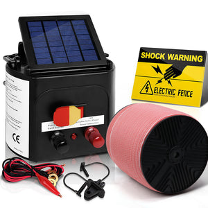 Giantz Electric Fence Energiser 5km Solar Powered 0.15j Set+ 1200m Tape