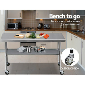 Cefito 1829 x 762mm Commercial Stainless Steel Kitchen Bench with 4pcs Castor Wheels