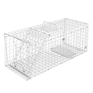 Humane Animal Trap Cage 108 x 40 x 45cm  - Silver