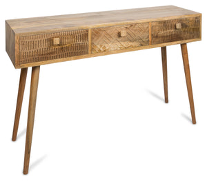 Ashanti Three Drawer Mango Wood Console KD