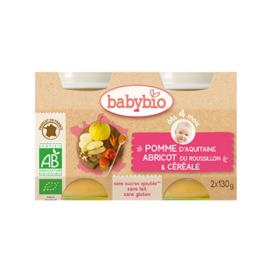 Duo Babybio Pomme Abricot Cereales