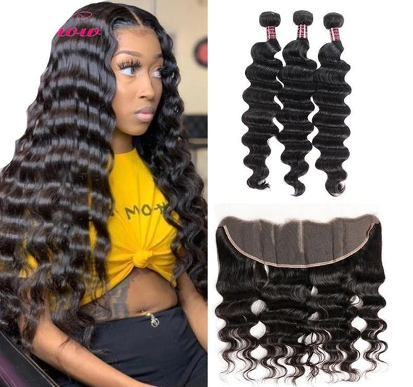"30"" Loose Deep Wave Bundle With Frontal Closure Virgin Expressions"