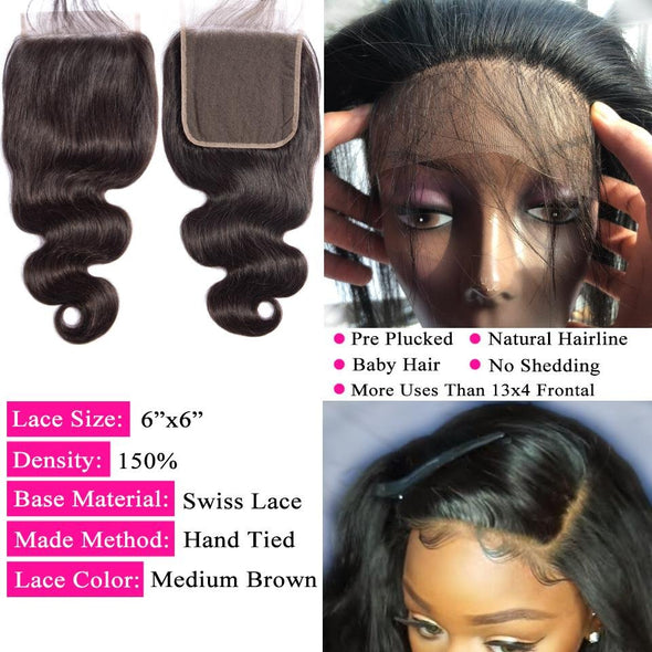 "6x6"" Lace Closure Body Wave Hair Bundles Virgin Expressions"