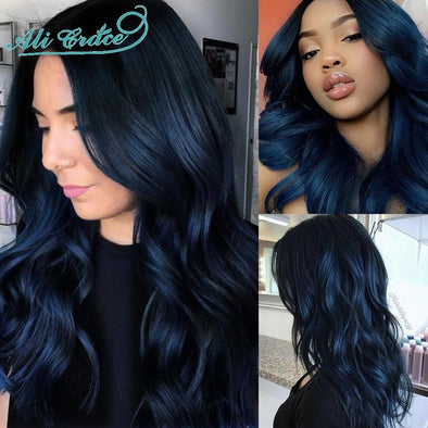Blue Black Colored Lace Front Human Hair Wig Virgin Expressions