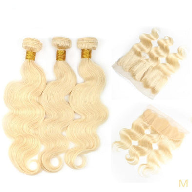 Body Wave Blonde Hair Bundles With 13x4 Closure Virgin Expressions