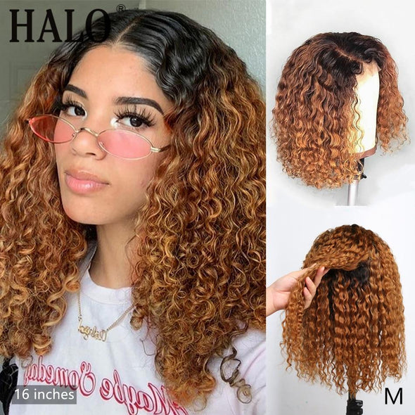 Brazilian Ombre Color Short Curly Hair Wig Virgin Expressions