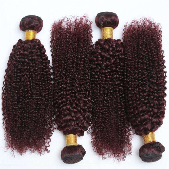Burgundy Peruvian Curly Hair Weaving Bundles Virgin Expressions
