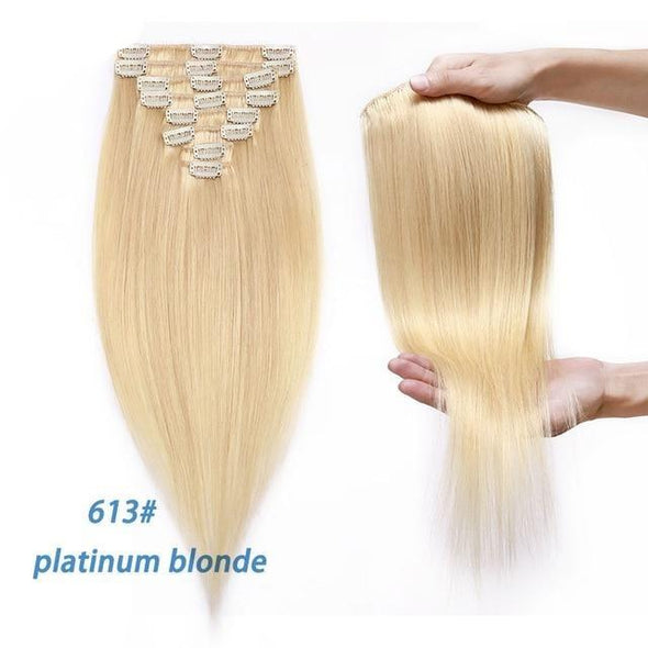 Clip-in Human Hair Extensions Straight 8pc Set Virgin Expressions