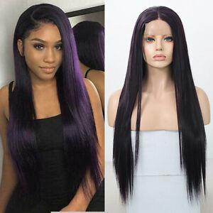 Dark Purple Straight Peruvian Hair Lace Front Wigs Virgin Expressions