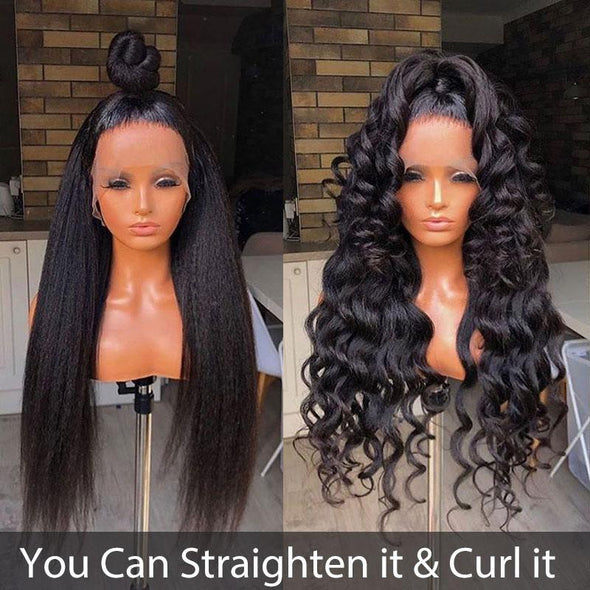 Glueless Kinky Straight Wig Full Lace Human Hair Wigs Virgin Expressions