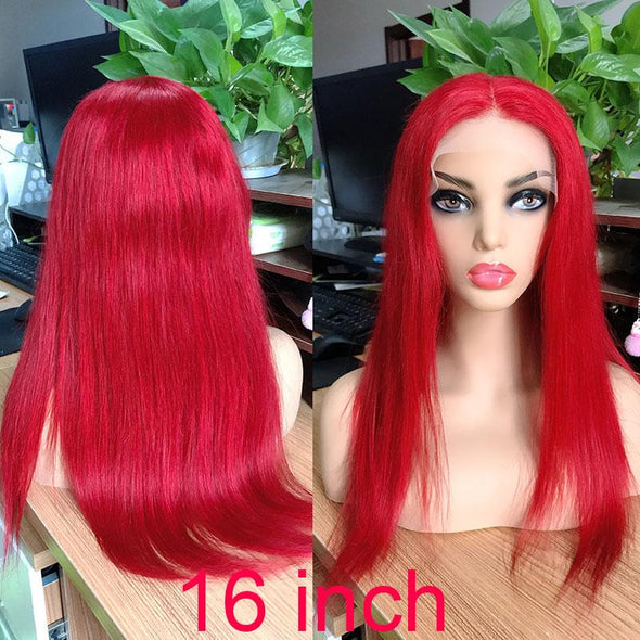 Glueless Red Straight Wigs Pre Plucked Virgin Expressions