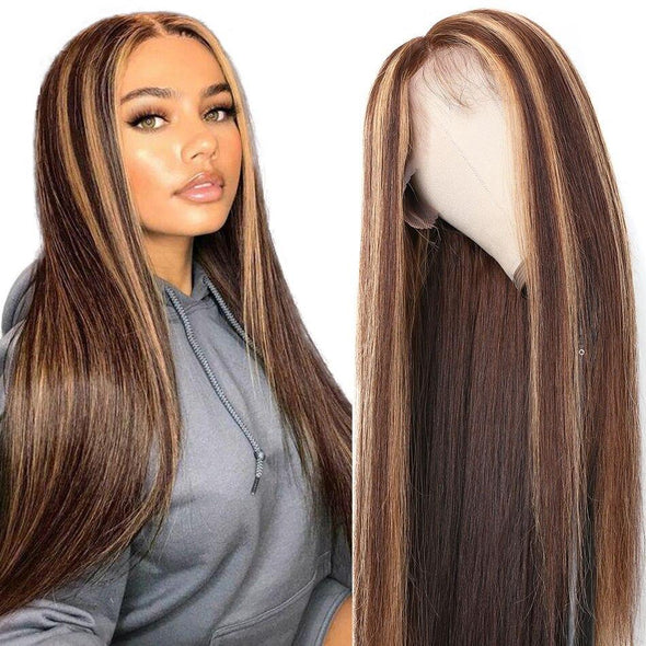 Highlighted Glueless 13x6 Lace Front Human Hair Wigs Virgin Expressions