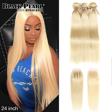 Honey Blonde Straight Hair Bundles With Closure Virgin Expressions