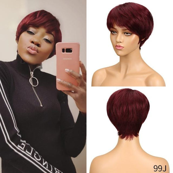 Machine Made Short Straight Peruvian Hair Wigs Virgin Expressions