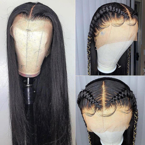 Malaysian Straight Transparent Lace Front Wig With Baby Hair Virgin Expressions