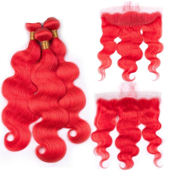 "Red Hair Bundles 13*4"" Lace Frontal Closure Body Wave Virgin Expressions"