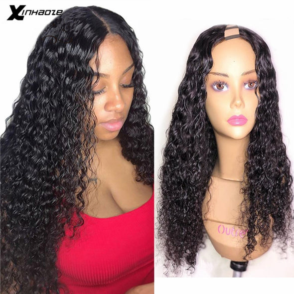 Curly U Part Human Hair Wig 150 Density
