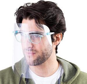 Protective Face Shield, Fully Transparent Face and Eye Protection -  30-Pac