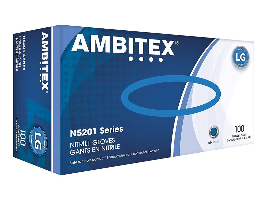 Ambitex N5201 Disposable Nitrile Gloves, Powder Free, Large, 100/Box - 1 Pack