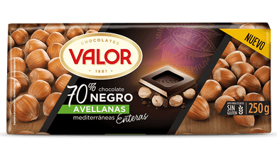 Chocolate negro 70% con Avellanas VALOR - A Spanish Bite
