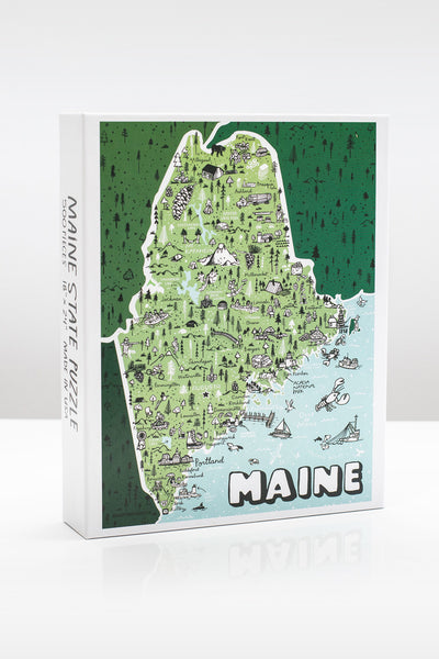 State of Maine 500 Piece Illustrated Jigsaw Puzzle by Brainstorm Puzzle Co.