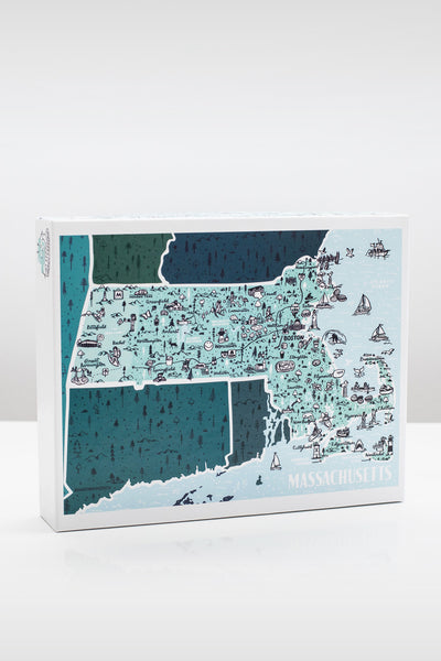 State of Massachusetts 500 Piece Illustrated Jigsaw Puzzle by Brainstorm Puzzle Co.