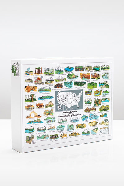 illustrated US National Parks 500 piece jigsaw puzzle by Brainstorm Puzzle Co.