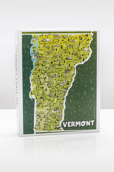 State of Vermont 500 Piece Illustrated Jigsaw Puzzle by Brainstorm Puzzle Co.