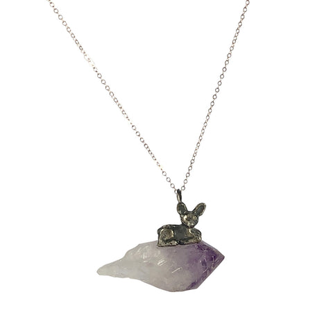 Deer Amethyst Totem Necklace