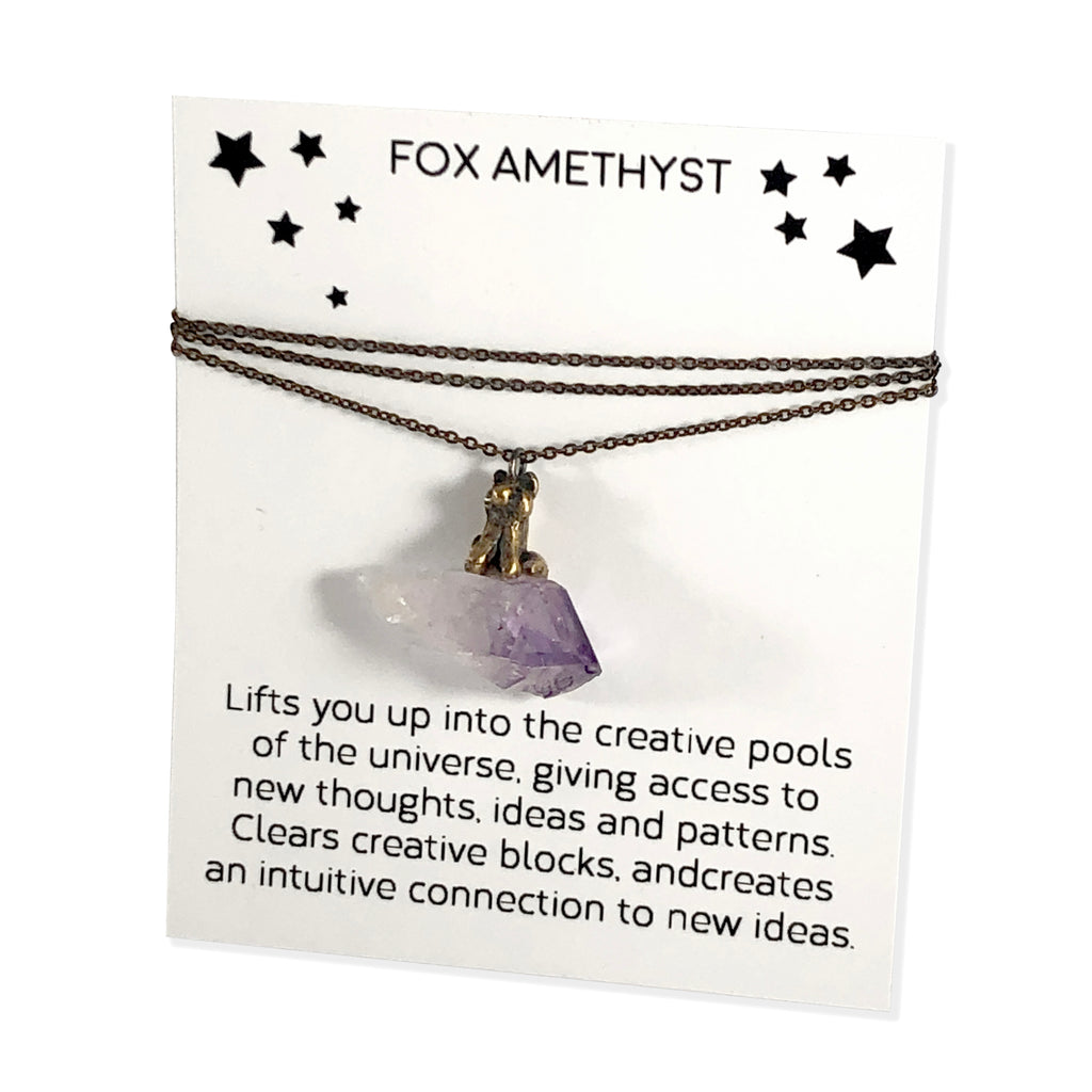 Fox Amethyst Totem Necklace