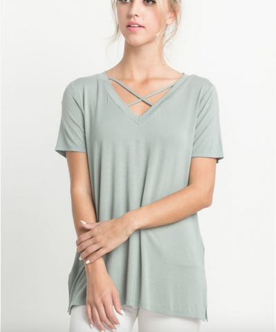 Mittoshop top w crisscross front and side-slit