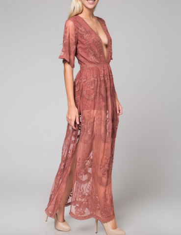 Abeauty by BNB embroidered lace maxi dress