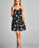 Staccato lace inset floral print tank dress