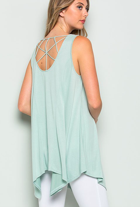 Nadia tunic w cage back detail