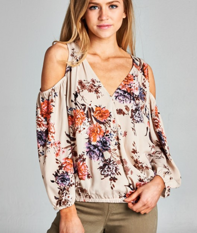 Staccato cold shoulder floral print top