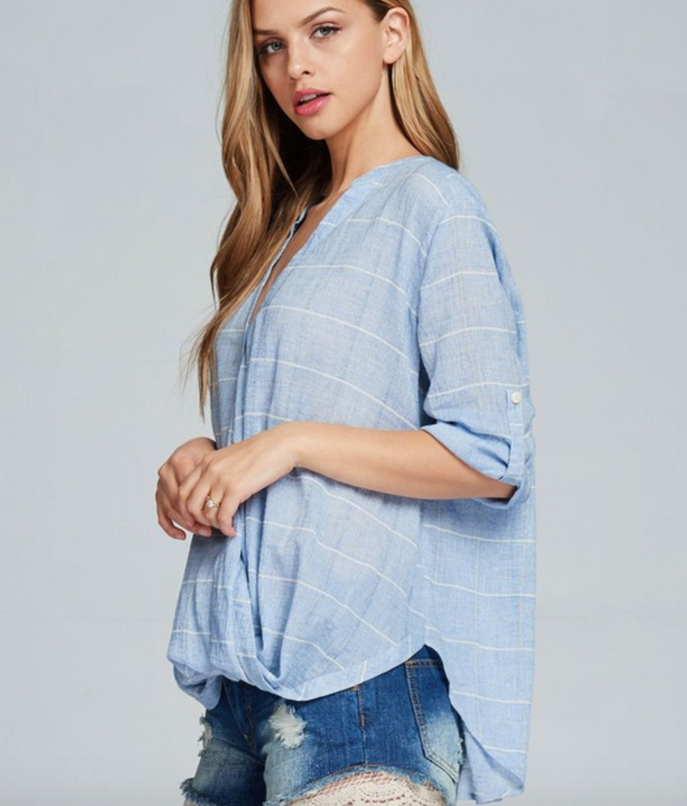 Listicle high low button down top